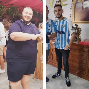 david antes y después de su operación de reducción de estómago